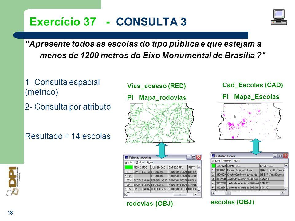 Exercício 37 - CONSULTA 3 Apresente todos as escolas do tipo pública e que estejam a menos de 1200 metros do Eixo Monumental de Brasília