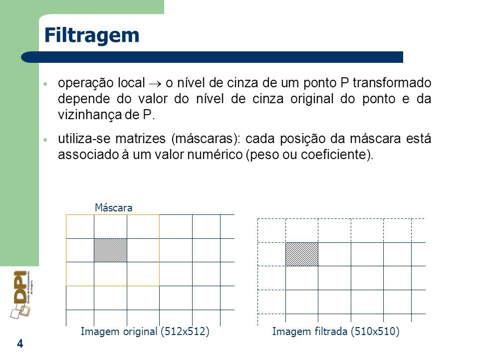 Filtragemoperação local  o nível de cinza de um ponto P transformado depende do valor do nível de cinza original do ponto e da vizinhança de P.