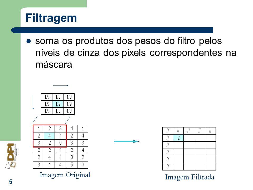 Filtragem soma os produtos dos pesos do filtro pelos níveis de cinza dos pixels correspondentes na máscara.