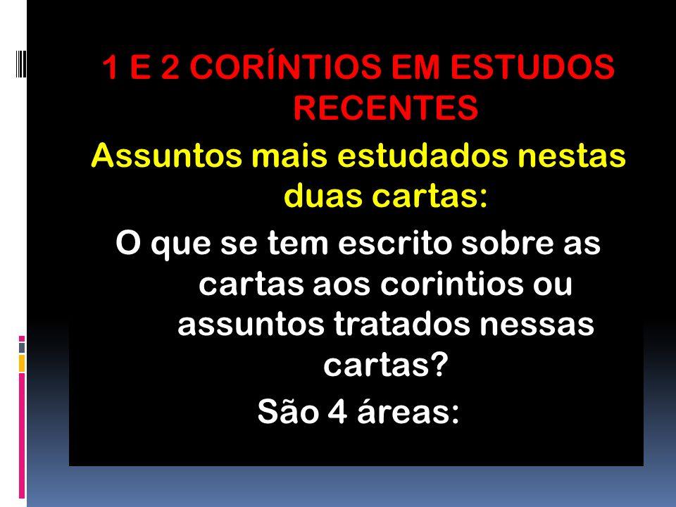 1 E 2 CORÍNTIOS EM ESTUDOS RECENTES