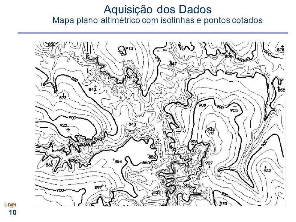 Aquisição dos Dados Mapa plano-altimétrico com isolinhas e pontos cotados