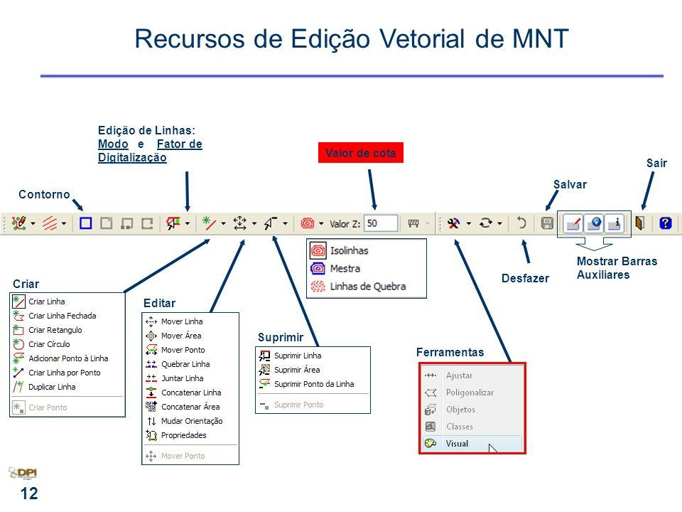Recursos de Edição Vetorial de MNT