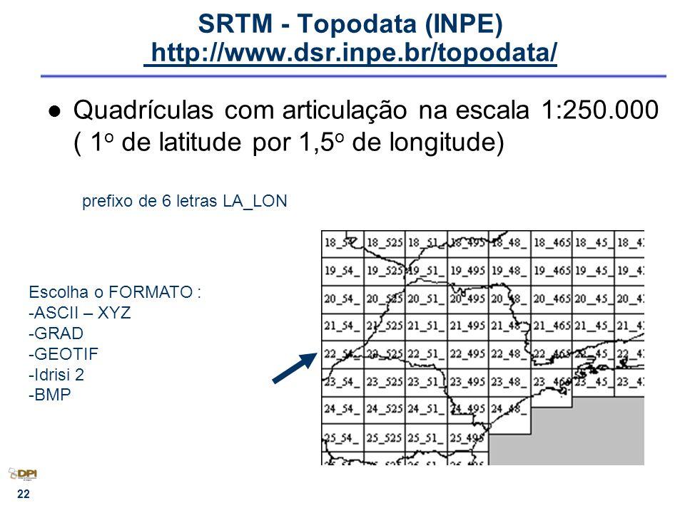 SRTM - Topodata (INPE) http://www.dsr.inpe.br/topodata/