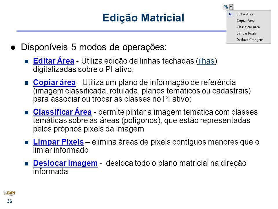 Edição Matricial Disponíveis 5 modos de operações: