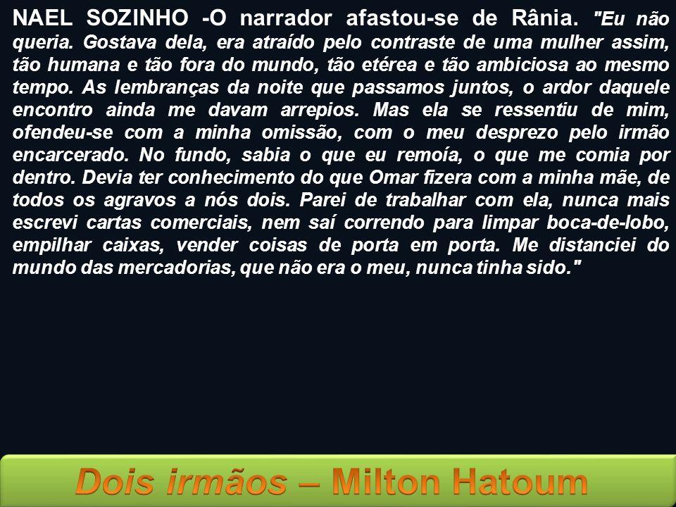 NAEL SOZINHO -O narrador afastou-se de Rânia. Eu não queria