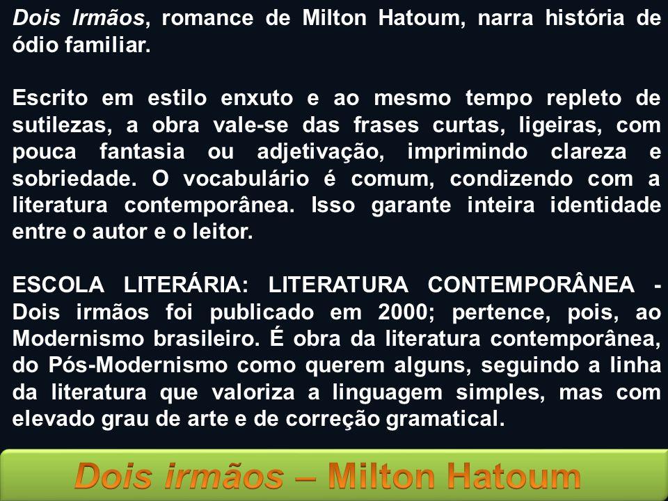 Dois Irmãos, romance de Milton Hatoum, narra história de ódio familiar.