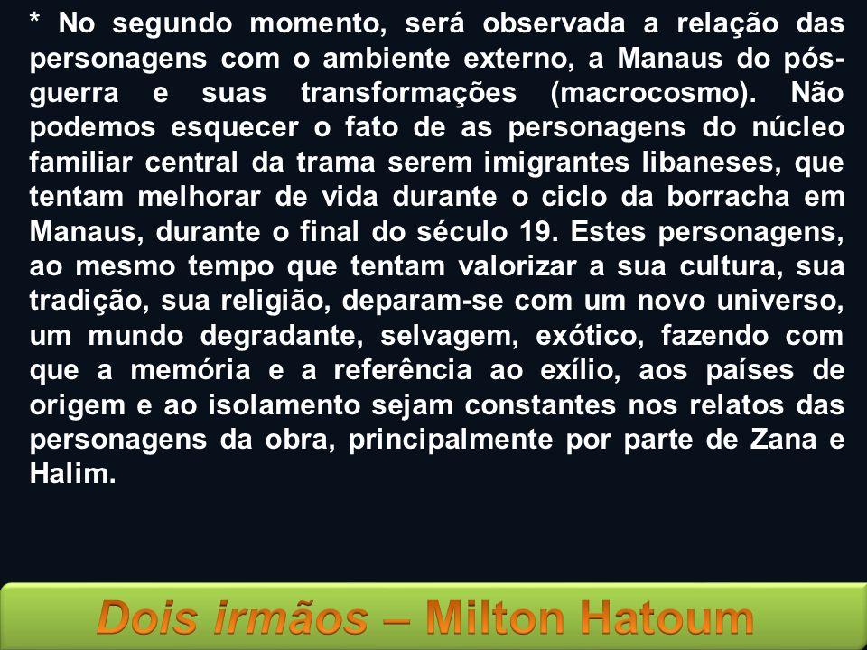 * No segundo momento, será observada a relação das personagens com o ambiente externo, a Manaus do pós-guerra e suas transformações (macrocosmo).