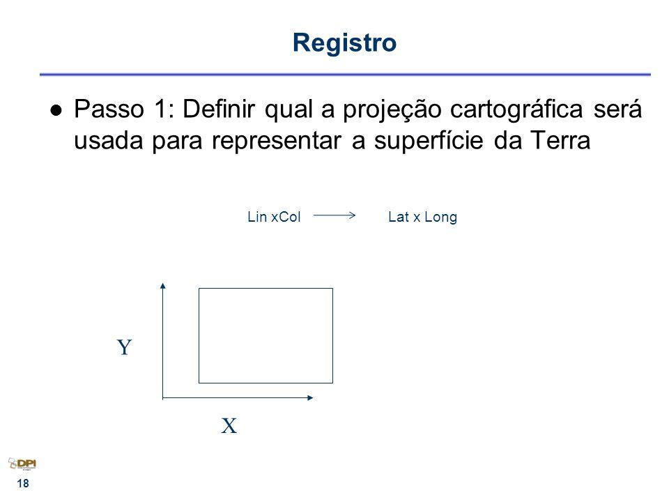 Registro Passo 1: Definir qual a projeção cartográfica será usada para representar a superfície da Terra.