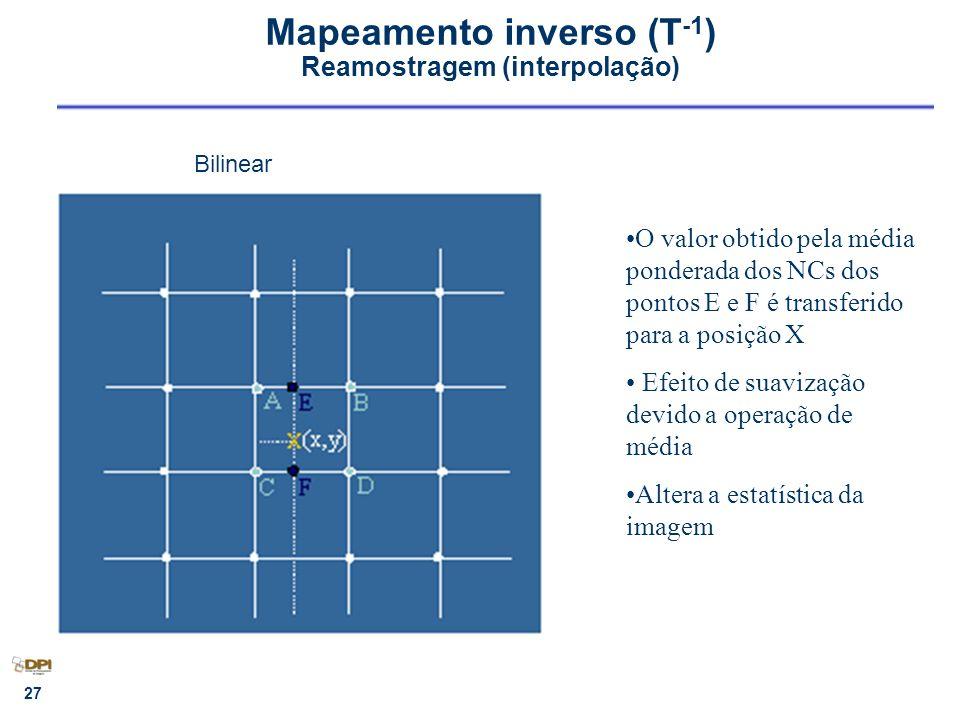Mapeamento inverso (T-1) Reamostragem (interpolação)