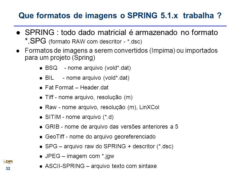 Que formatos de imagens o SPRING 5.1.x trabalha