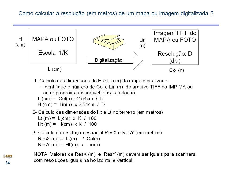 Como calcular a resolução (em metros) de um mapa ou imagem digitalizada