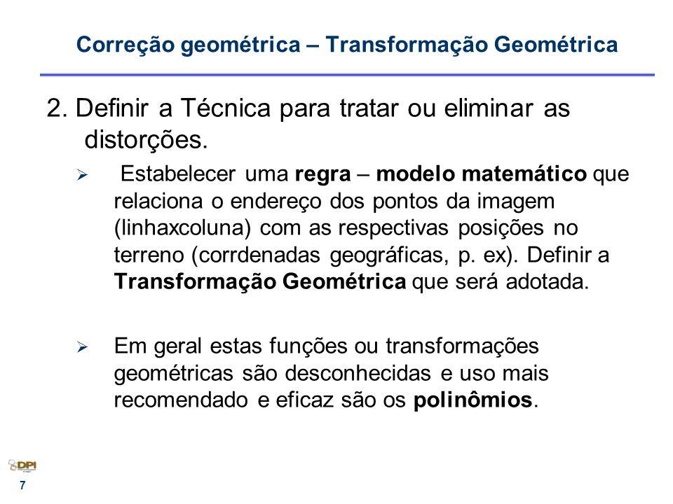 Correção geométrica – Transformação Geométrica