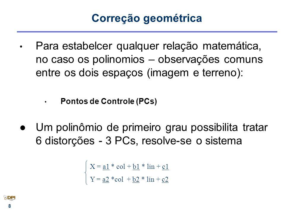 Correção geométrica Para estabelcer qualquer relação matemática, no caso os polinomios – observações comuns entre os dois espaços (imagem e terreno):