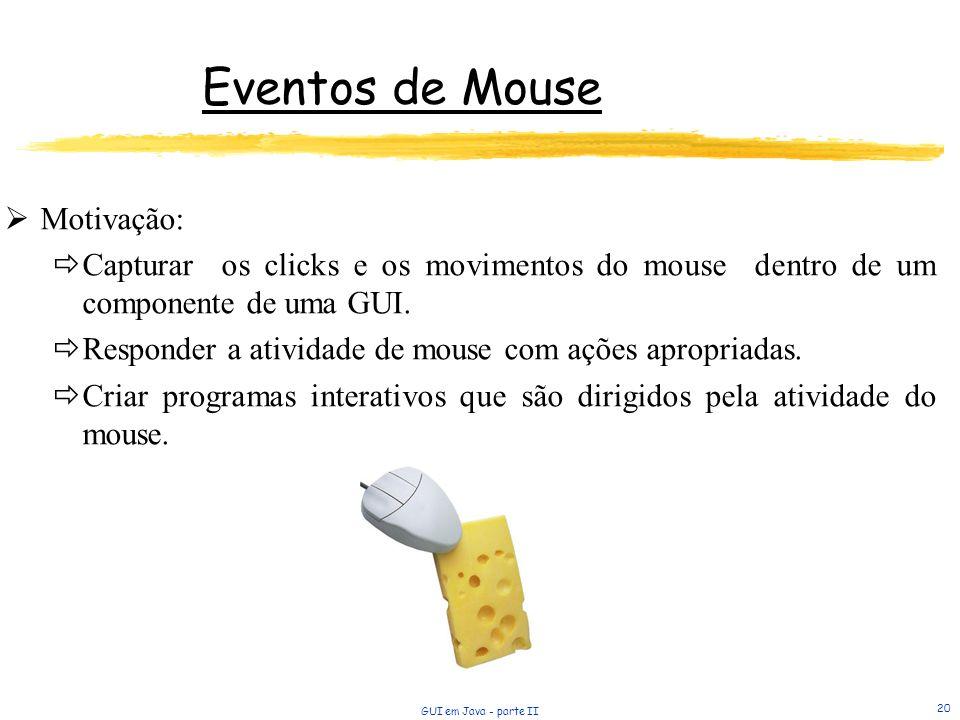Eventos de Mouse Motivação: