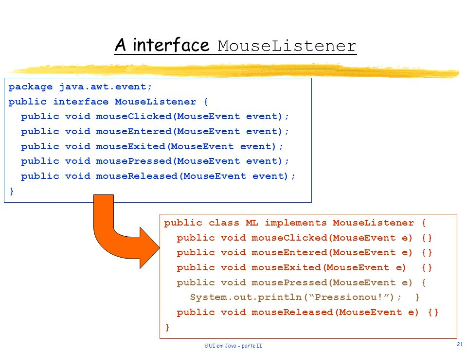 A interface MouseListener