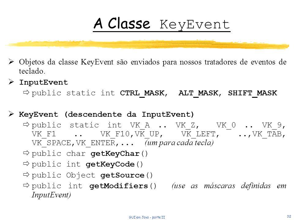 A Classe KeyEvent Objetos da classe KeyEvent são enviados para nossos tratadores de eventos de teclado.