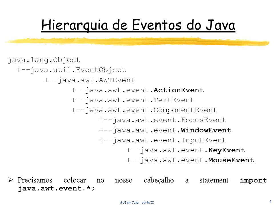 Hierarquia de Eventos do Java