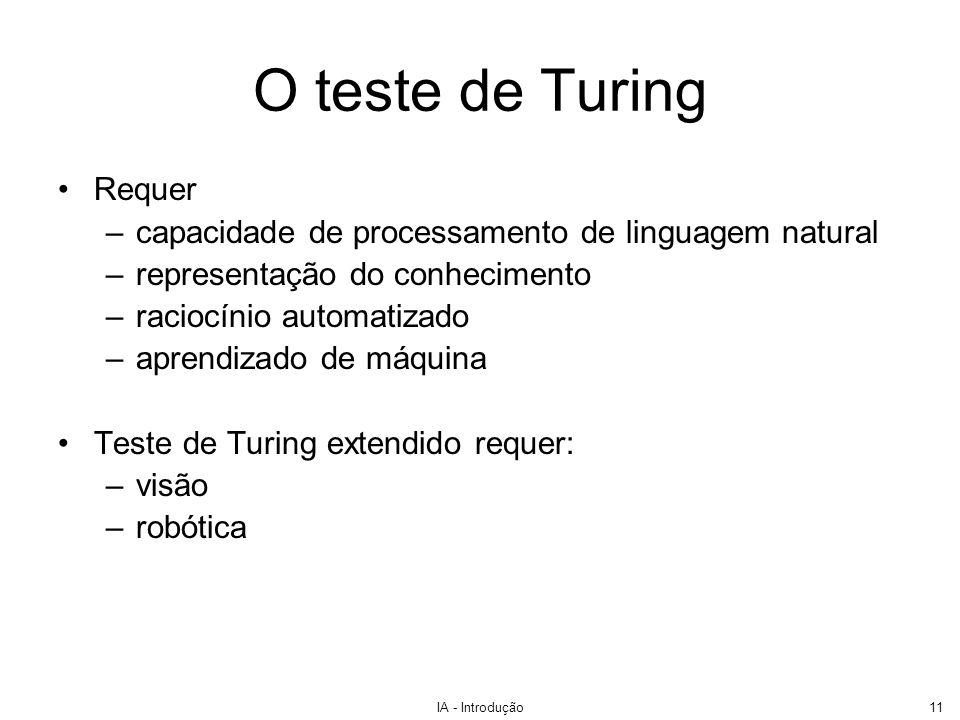 O teste de Turing Requer