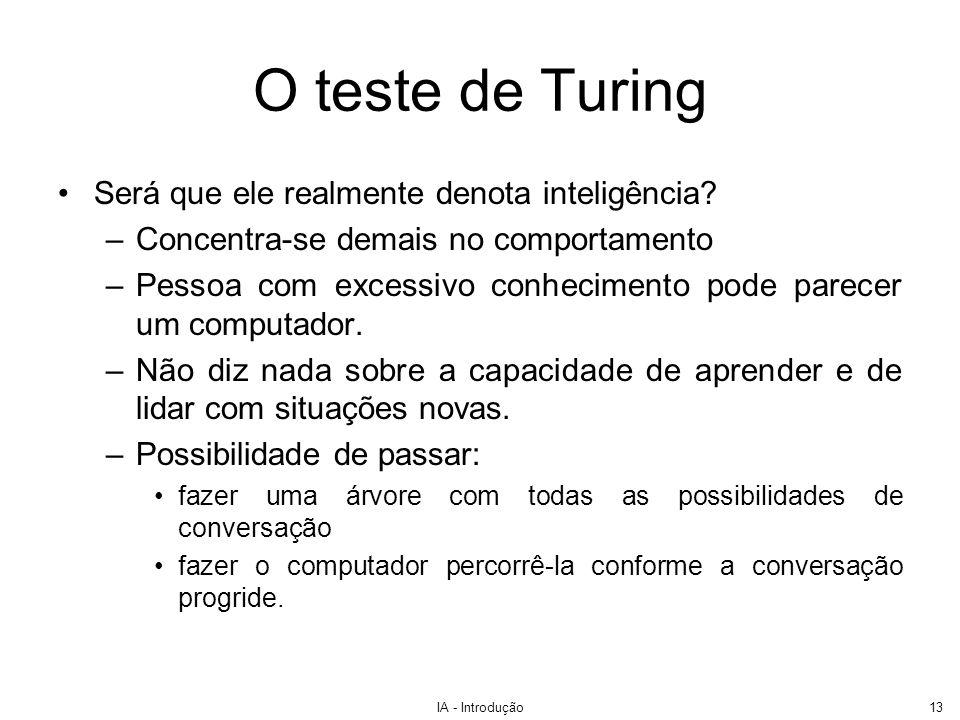 O teste de Turing Será que ele realmente denota inteligência