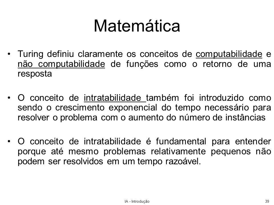 Matemática Turing definiu claramente os conceitos de computabilidade e não computabilidade de funções como o retorno de uma resposta.