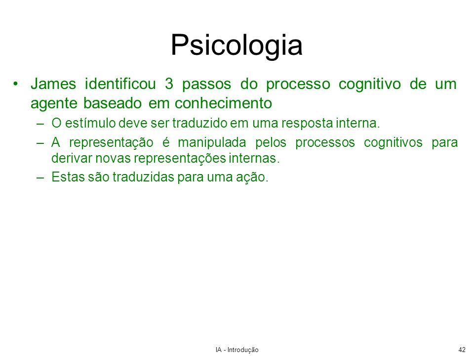 PsicologiaJames identificou 3 passos do processo cognitivo de um agente baseado em conhecimento.