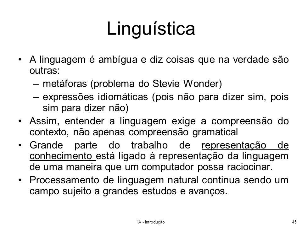 LinguísticaA linguagem é ambígua e diz coisas que na verdade são outras: metáforas (problema do Stevie Wonder)