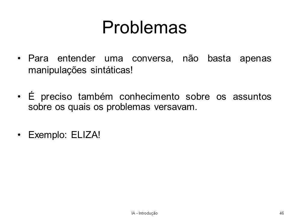 Problemas Para entender uma conversa, não basta apenas manipulações sintáticas!