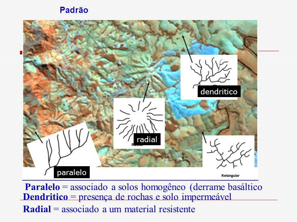 Paralelo = associado a solos homogêneo (derrame basáltico
