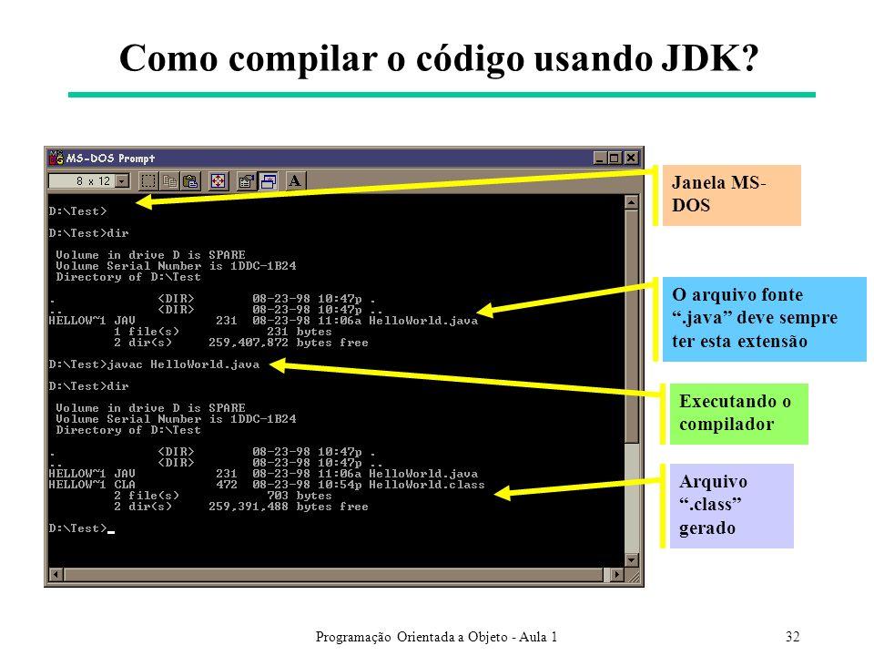 Como compilar o código usando JDK