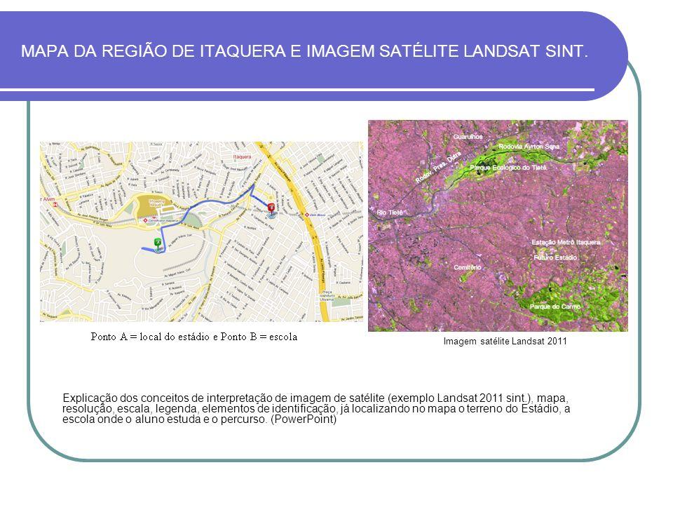 MAPA DA REGIÃO DE ITAQUERA E IMAGEM SATÉLITE LANDSAT SINT.