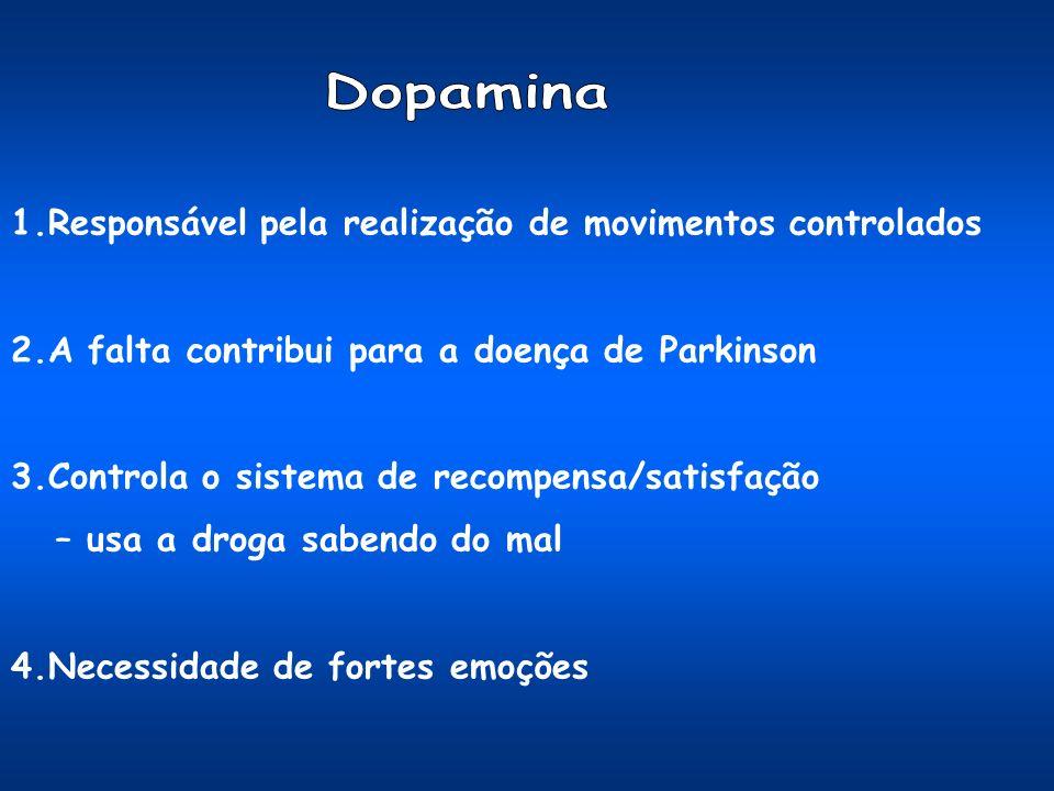 Dopamina 1.Responsável pela realização de movimentos controlados
