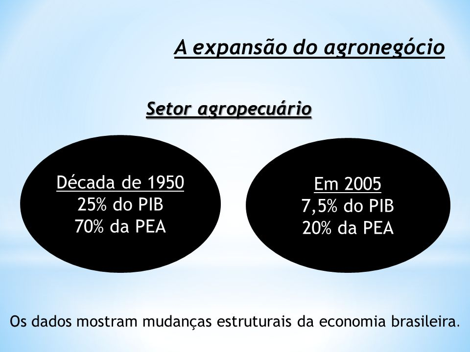 Os dados mostram mudanças estruturais da economia brasileira.