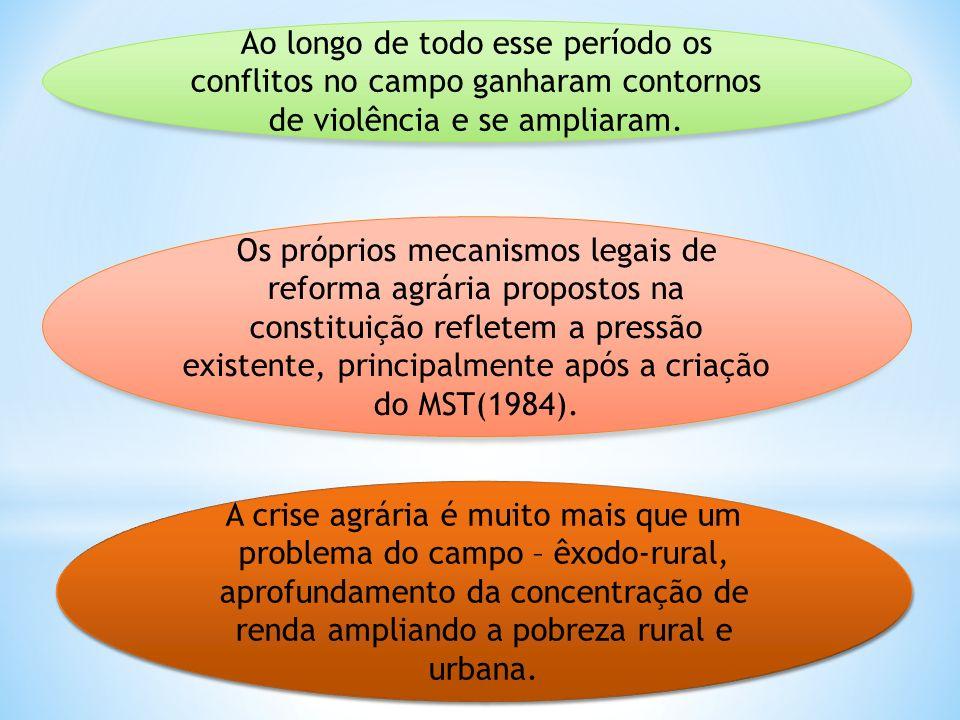 Ao longo de todo esse período os conflitos no campo ganharam contornos de violência e se ampliaram.