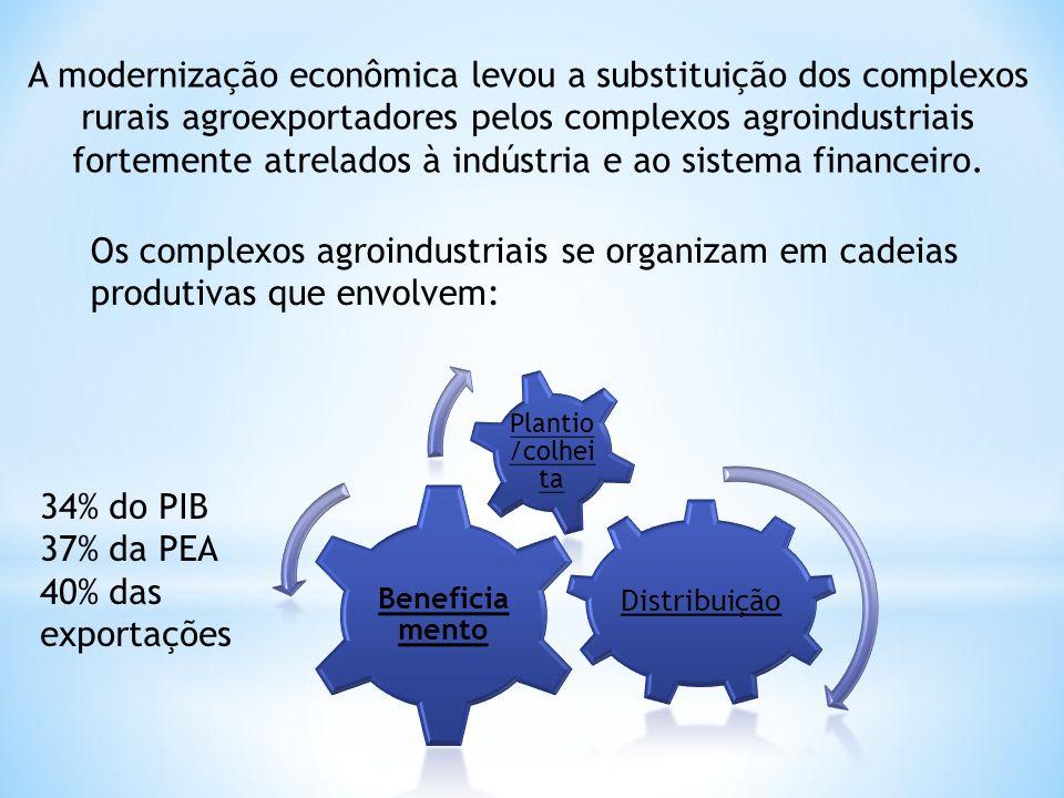 A modernização econômica levou a substituição dos complexos rurais agroexportadores pelos complexos agroindustriais fortemente atrelados à indústria e ao sistema financeiro.