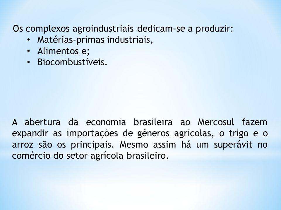 Os complexos agroindustriais dedicam-se a produzir: