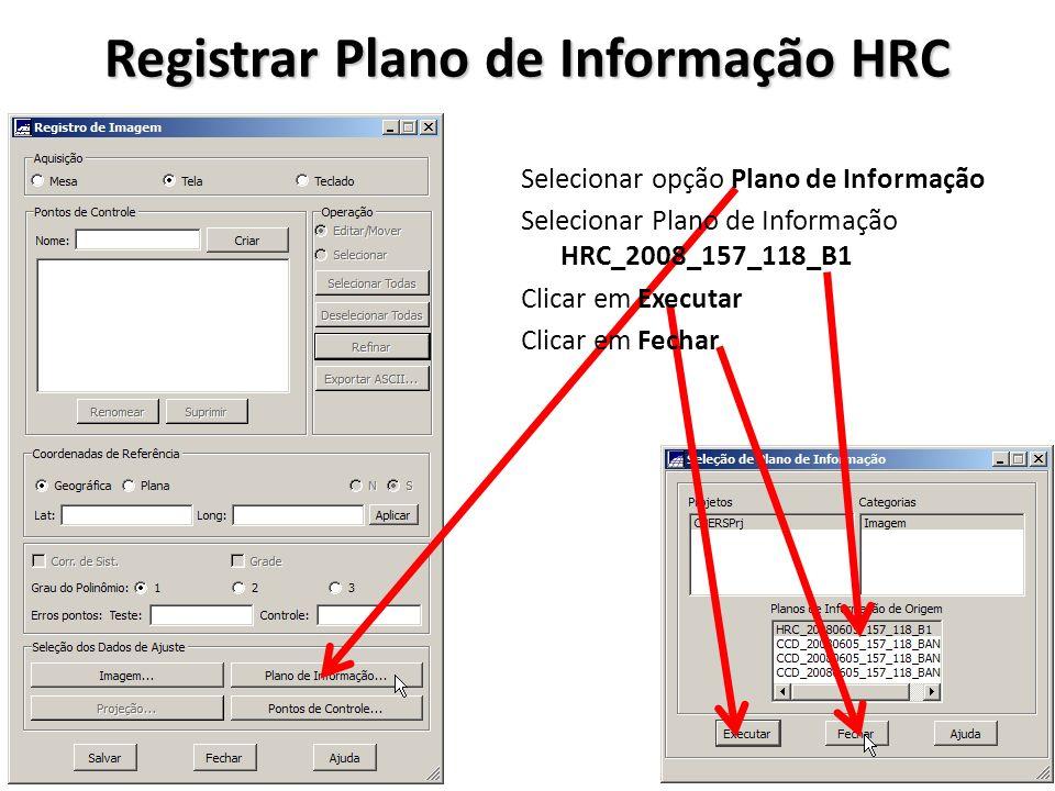 Registrar Plano de Informação HRC