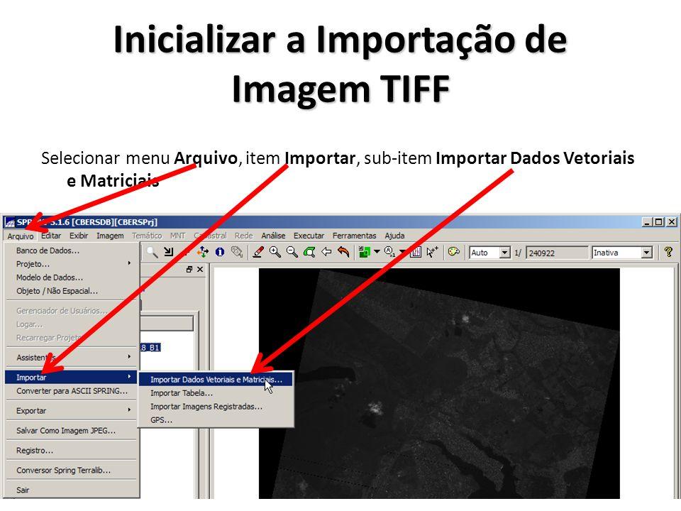 Inicializar a Importação de Imagem TIFF