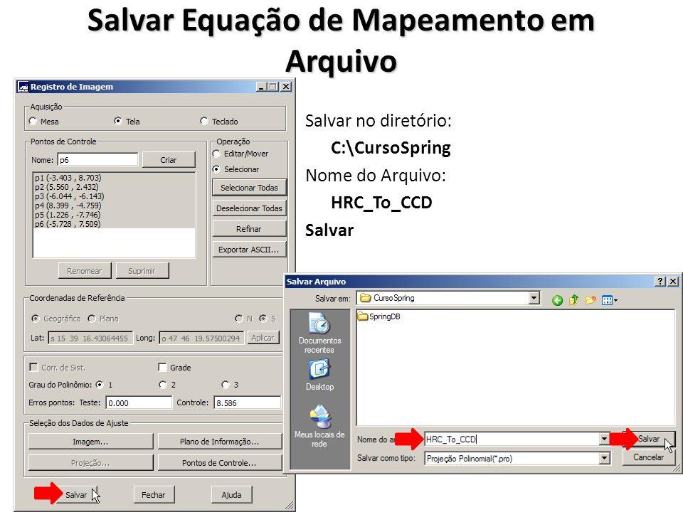 Salvar Equação de Mapeamento em Arquivo