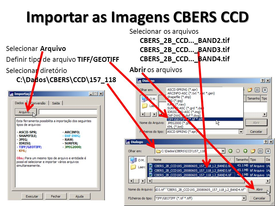Importar as Imagens CBERS CCD