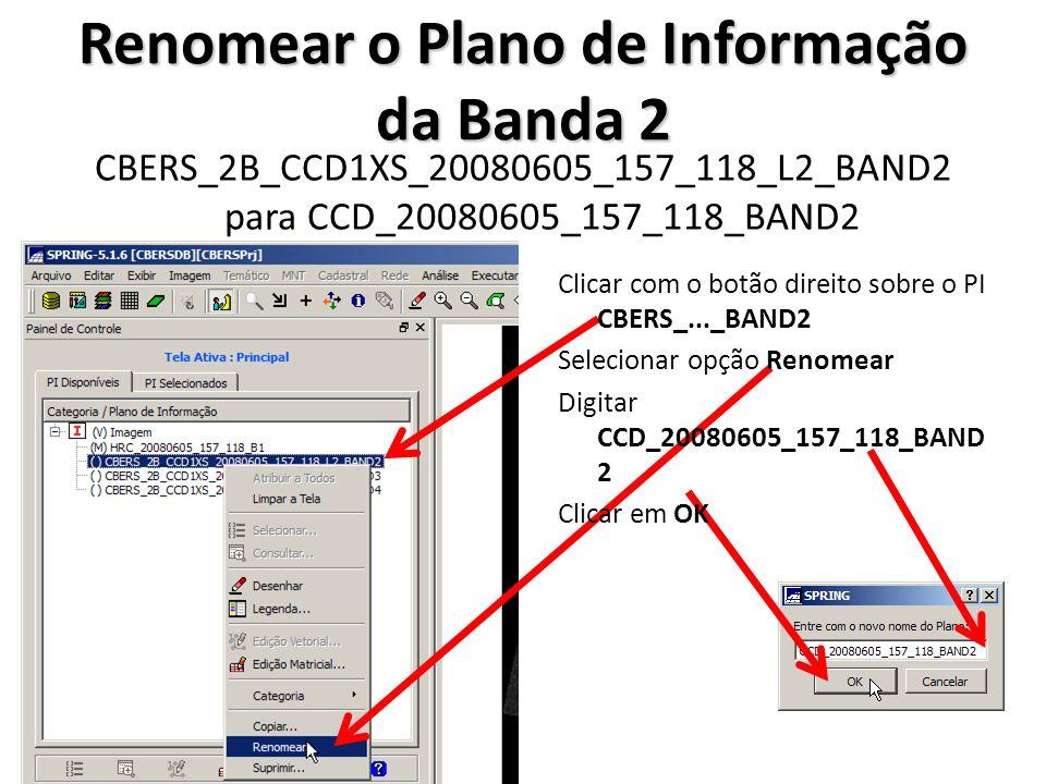 Renomear o Plano de Informação da Banda 2