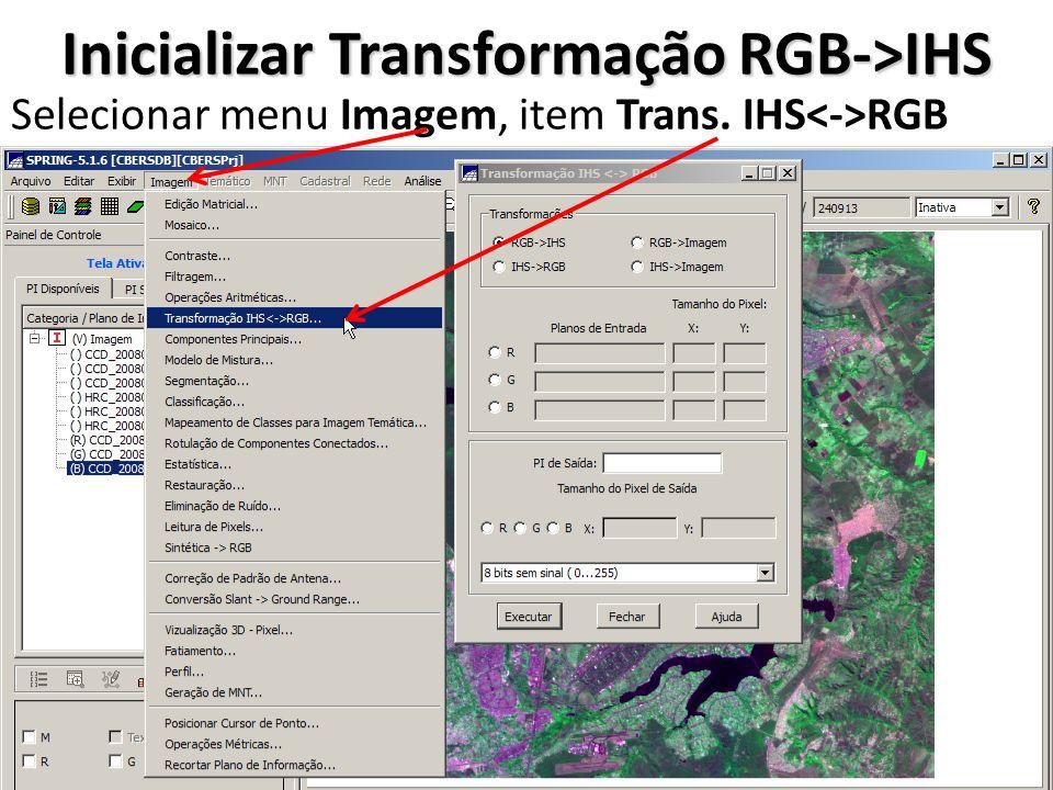 Inicializar Transformação RGB->IHS