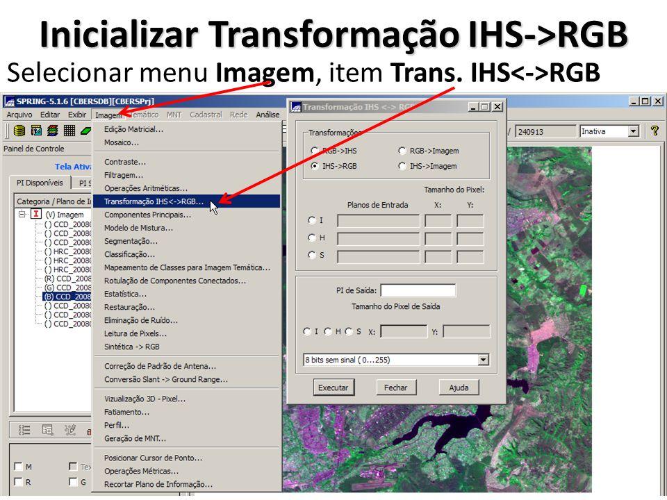 Inicializar Transformação IHS->RGB