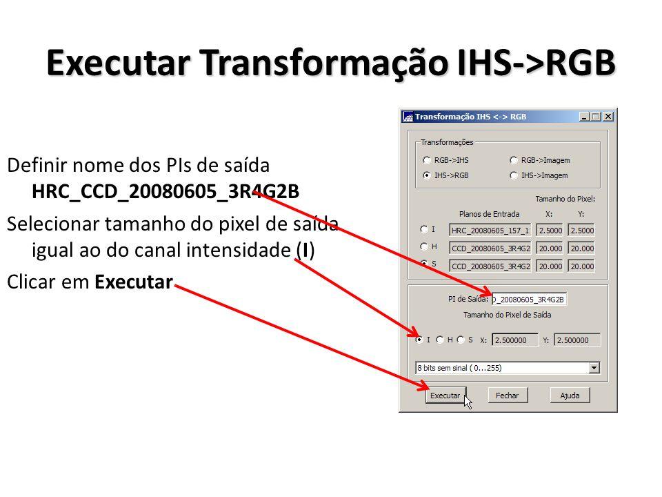 Executar Transformação IHS->RGB