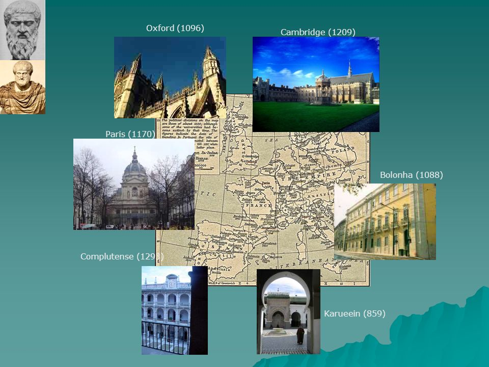 Oxford (1096) Cambridge (1209) Paris (1170) Bolonha (1088) Complutense (1293) Karueein (859)