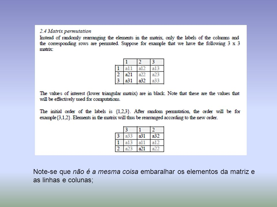 Note-se que não é a mesma coisa embaralhar os elementos da matriz e as linhas e colunas;