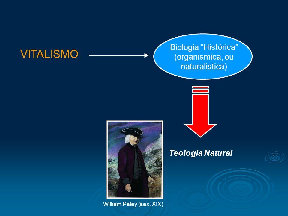 VITALISMO Biologia Histórica (organismica, ou naturalistica)