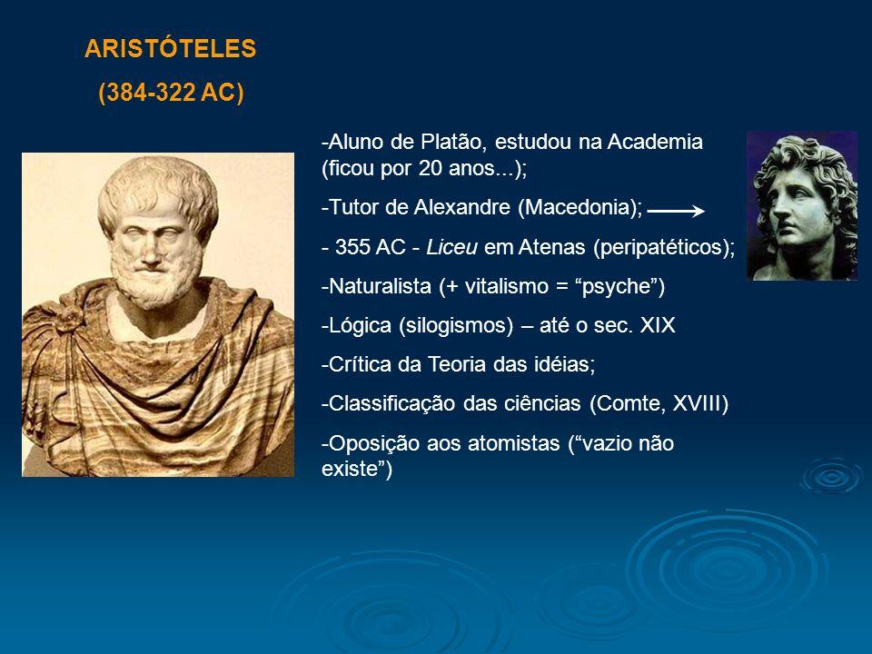 ARISTÓTELES (384-322 AC) Aluno de Platão, estudou na Academia (ficou por 20 anos...); Tutor de Alexandre (Macedonia);