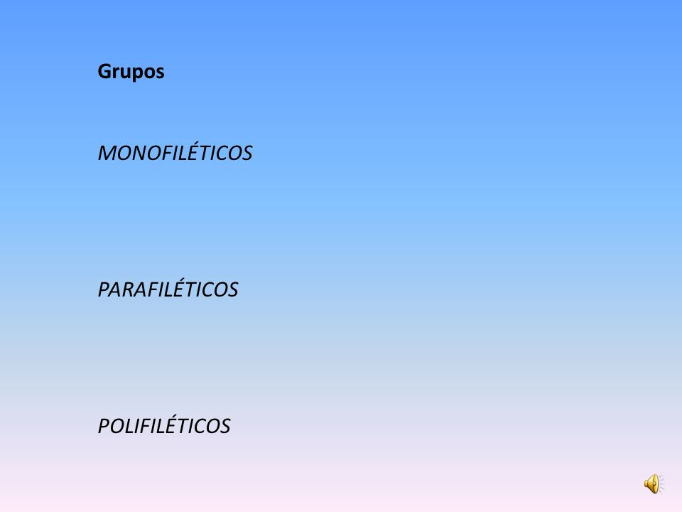 Grupos MONOFILÉTICOS PARAFILÉTICOS POLIFILÉTICOS