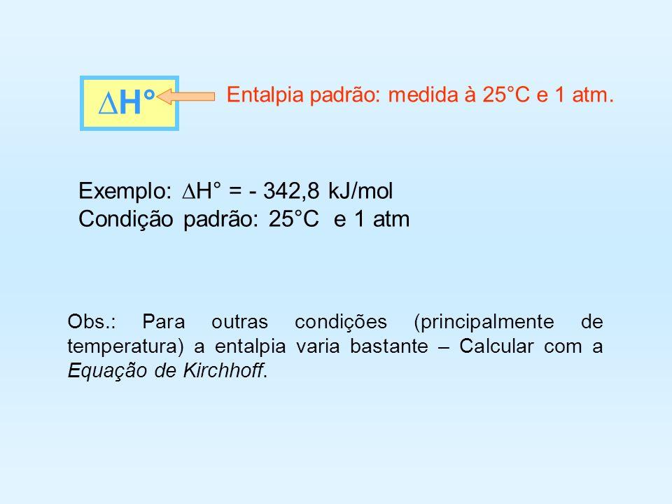 ∆H° Exemplo: ∆H° = - 342,8 kJ/mol Condição padrão: 25°C e 1 atm