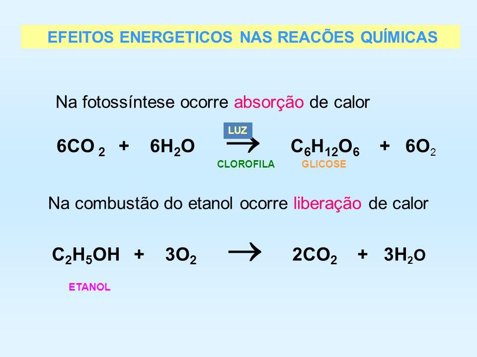 6CO 2 + 6H2O  C6H12O6 + 6O2 C2H5OH + 3O2  2CO2 + 3H2O